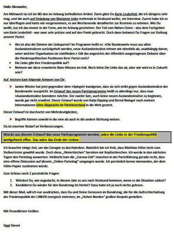 Artikel von Karin Leukefeld - ND v. 23.02.2021 - Mail an Dr. Alexander Neu - Aus dem Posteingang von Siegfried Dienel vom 28.02.2021