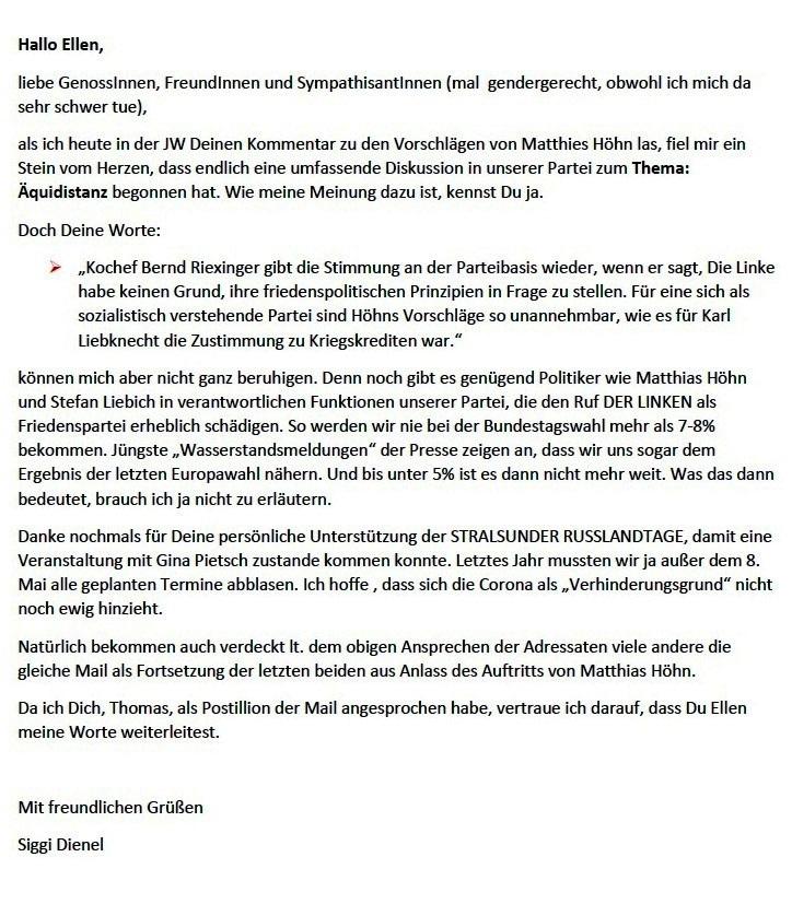Aus dem Posteingang von Siegfried Dienel vom 22.01.2021 - Mail an Ellen Brombacher mit Anmerkungen zu ihrem Gastkommentar  in der Tageszeitung Junge Welt, Ausgabe vom 22.01.2021, Seite 8 mit dem Titel 'Prinzip Anbiederung - Friedenspolitik unter Beschuss ' zu den umstrittenen Debattenvorschlägen von Matthias Höhn