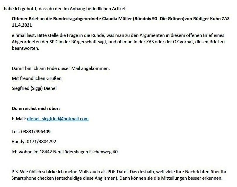 3 Bitten an Dich - E-Mail an Frank Kracht am 20.04.2021 - Aus dem Posteingang von Siegfried Dienel vom 21.04.2021