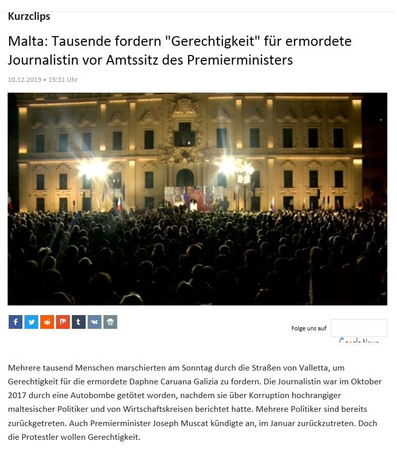 Kurzclips - Malta: Tausende fordern 'Gerechtigkeit' für ermordete Journalistin vor Amtssitz des Premierministers