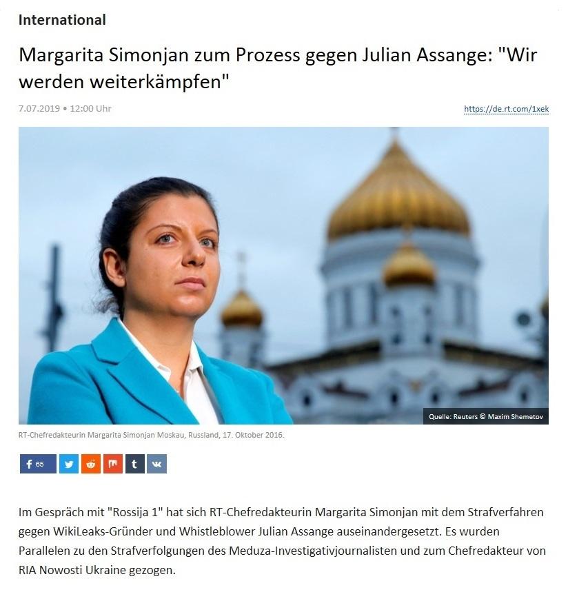 International - Margarita Simonjan zum Prozess gegen Julian Assange: 'Wir werden weiterkämpfen'