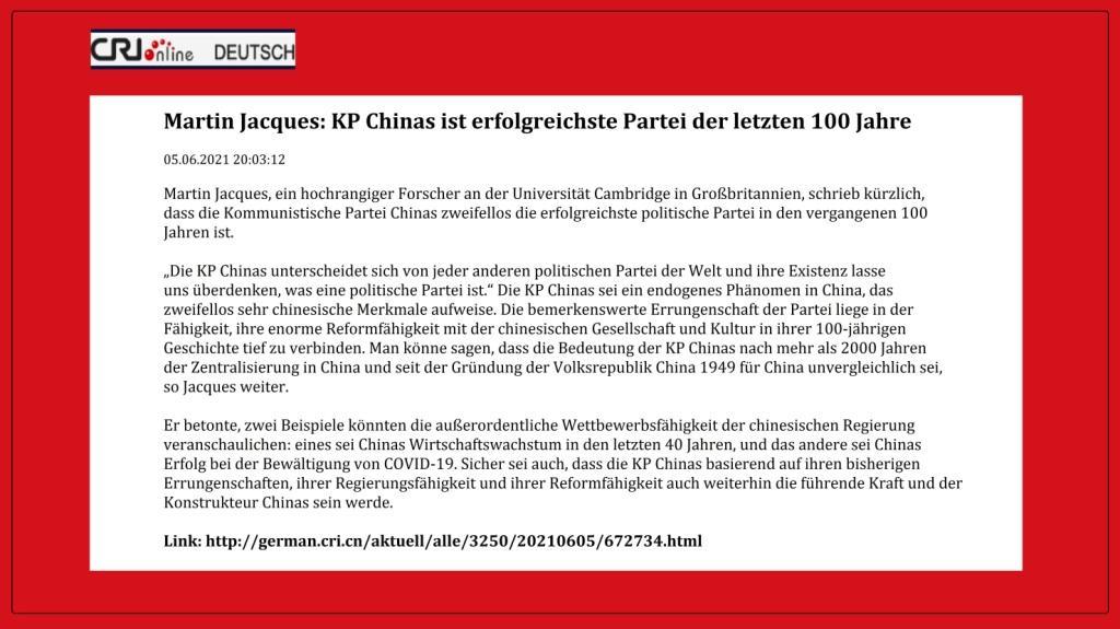 Martin Jacques: KP Chinas ist erfolgreichste Partei der letzten 100 Jahre - CRI online Deutsch - 05.06.2021 20:03:12 - Link: http://german.cri.cn/aktuell/alle/3250/20210605/672734.html
