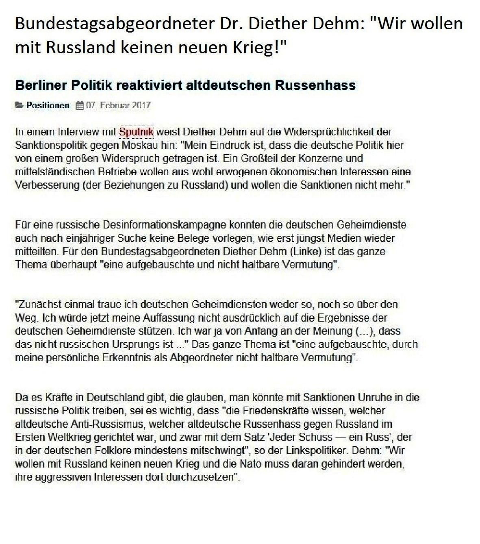Bundestagsabgeordneter Dr. Diether Dehm: Wir wollen mit Russland keinen neuen Krieg! Berliner Politik reaktiviert altdeutschen Russenhass