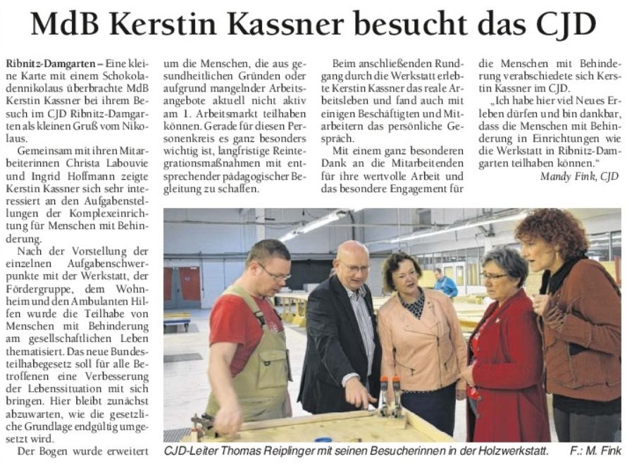 Bundestagsabgeordnete Kerstin Kassner im CJD in Ribnitz-Damgarten - Beitrag im Ostsee-Anzeiger - Ausgabe Mittwoch, 14. Dezember 2016