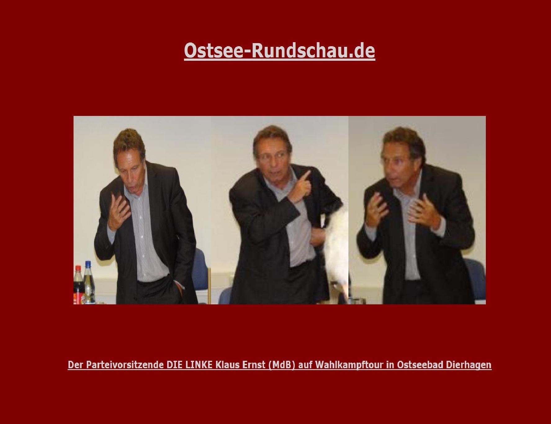 Der Parteivorsitzende DIE LINKE Klaus Ernst (MdB) am 31. August 2011 auf Wahlkampftour im Nordosten - Ostsee-Rundschau.de. Fotos: Eckart Kreitlow
