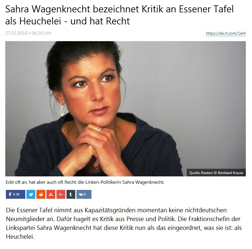 Sahra Wagenknecht bezeichnet Kritik an Essener Tafel als Heuchelei - und hat Recht