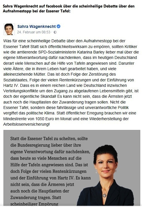 Sahra Wagenknecht auf facebook zur scheinheiligen Debatte über den Aufnahmestopp bei der Essener Tafel. Sahra Wagenknecht bezeichnet Kritik an Essener Tafel als Heuchelei - und hat Recht