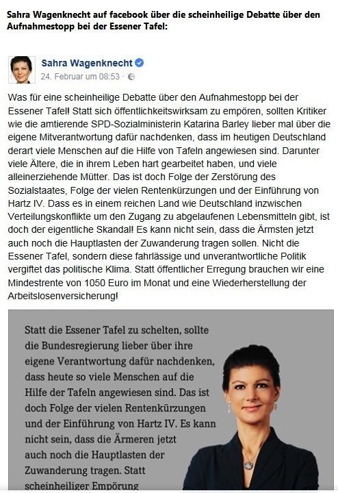 Sahra Wagenknecht auf facebook zur scheinheiligen Debatte über den Aufnahmestopp bei der Essener Tafel. Sahra Wagenknecht bezeichnet Kritik an Essener Tafel als Heuchelei - und hat Recht