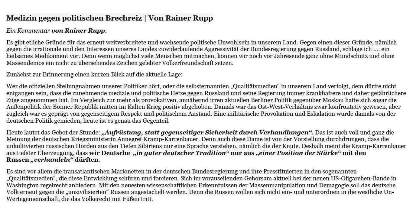 Medizin gegen politischen Brechreiz: Spendenaufruf für russische Veteranen - ein Kommentar von Rainer Rupp - Aus dem Posteingang vom 26.12.2020 mit weihnachtlichen Grüßen von Dr. Marianne Linke - Abschnitt 1
