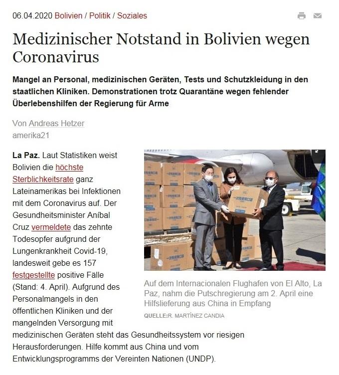 Lateinamerika - Medizinischer Notstand in Bolivien wegen Coronavirus - amerika21 - Nachrichten und Analysen aus Lateinamerika - 6.04.2020
