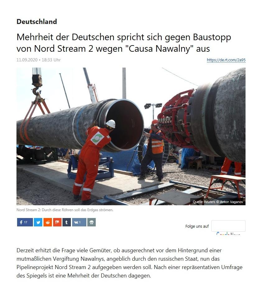 Deutschland - Mehrheit der Deutschen spricht sich gegen Baustopp von Nord Stream 2 wegen 'Causa Nawalny' aus - RT Deutsch - 11.09.2020