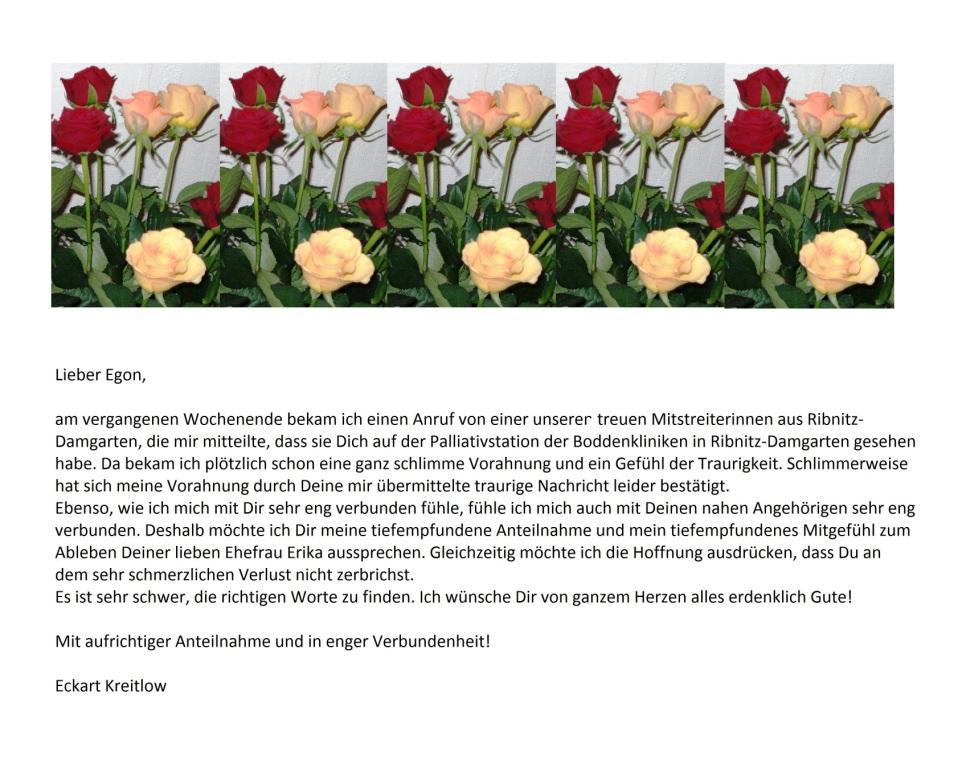 Unser an Egon Krenz am 6.März 2017 übermitteltes tiefempfundenes Beileid aus Anlass des Ablebens seiner Ehefrau Erika Krenz am 4.März 2017