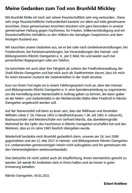 Meine Gedanken zum Tod von Brunhild Mickley (16.04.1948 - 21.01.2021) - Eckart Kreitlow - Ribnitz-Damgarten, 30.01.2021 - Seite 1 von 3