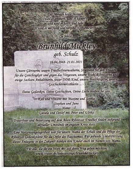 Meine Gedanken zum Tod von Brunhild Mickley (16.04.1948 - 21.01.2021) - Eckart Kreitlow - Ribnitz-Damgarten, 30.01.2021 - Seite 3 von 3