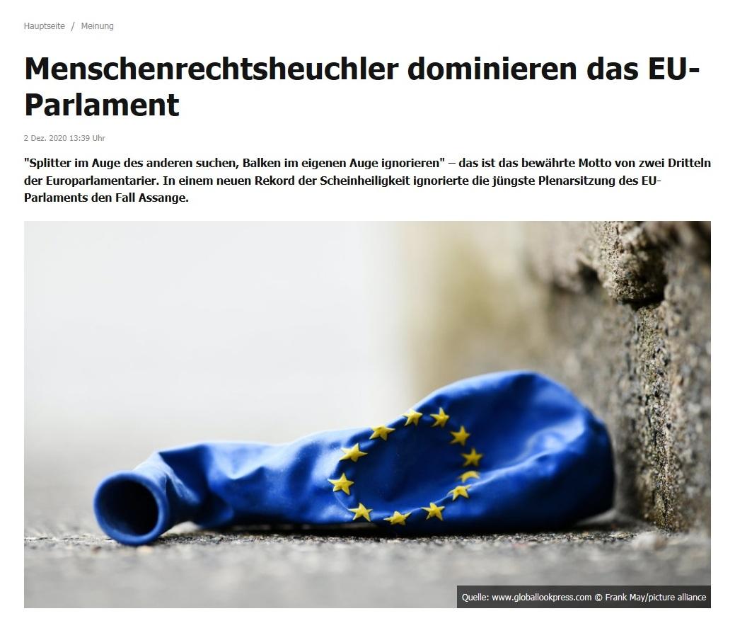 Meinung - Menschenrechtsheuchler dominieren das EU-Parlament  - Von Rainer Rupp - RT DE - 2. Dez. 2020 13:39 Uhr
