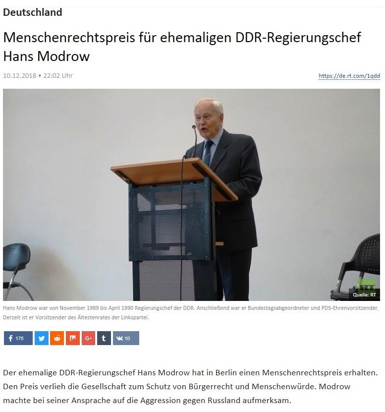 Deutschland - Menschenrechtspreis für ehemaligen DDR-Regierungschef Hans Modrow