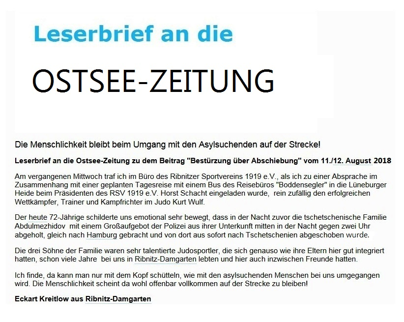 Die Menschlichkeit bleibt beim Umgang mit den Asylsuchenden auf der Strecke - Ostsee-Rundschau.de - Leserbrief an die Ostsee-Zeitung zu dem Beitrag 'Bestürzung über Abschiebung' vom 11./12. August 2018 - Ribnitz-Damgartener Ausgabe Seite 13