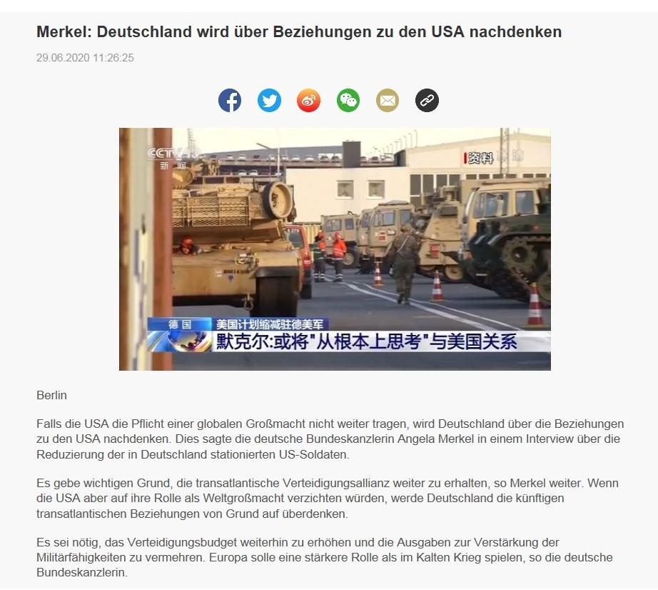 Merkel: Deutschland wird über Beziehungen zu den USA nachdenken - CRI online Deutsch - 29.06.2020