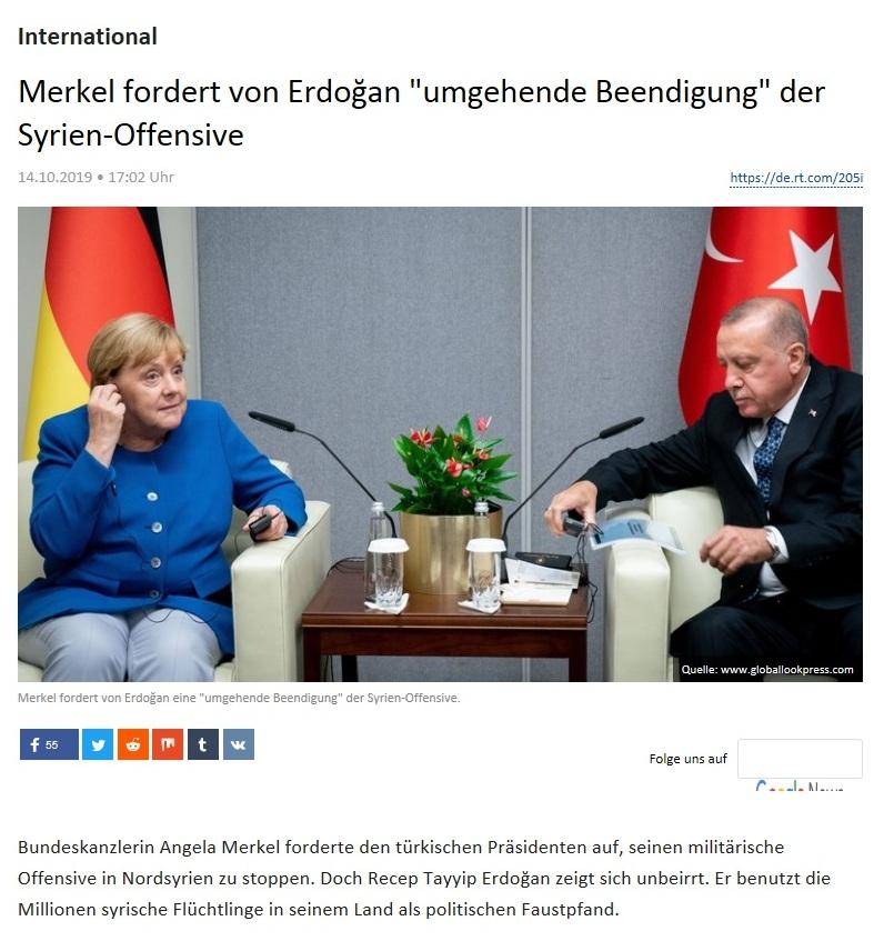International - Merkel fordert von Erdoğan 'umgehende Beendigung' der Syrien-Offensive