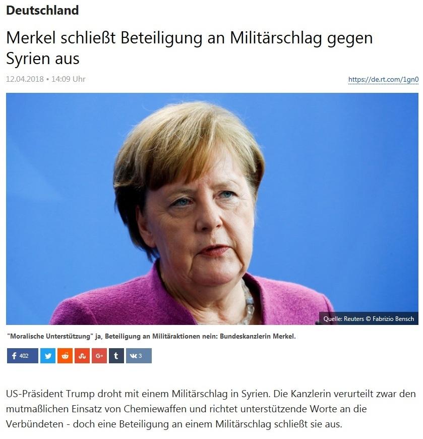 Deutschland - Merkel schließt Beteiligung an Militärschlag gegen Syrien aus