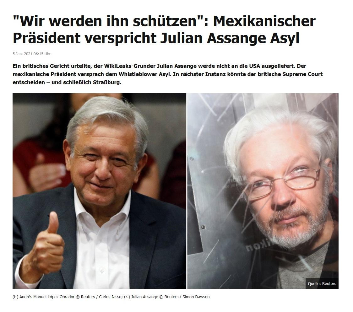'Wir werden ihn schützen': Mexikanischer Präsident verspricht Julian Assange Asyl - RT DE - 5 Jan. 2021 06:15 Uhr