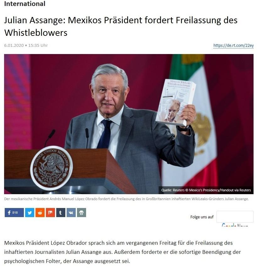 International - Julian Assange: Mexikos Präsident fordert Freilassung des Whistleblowers