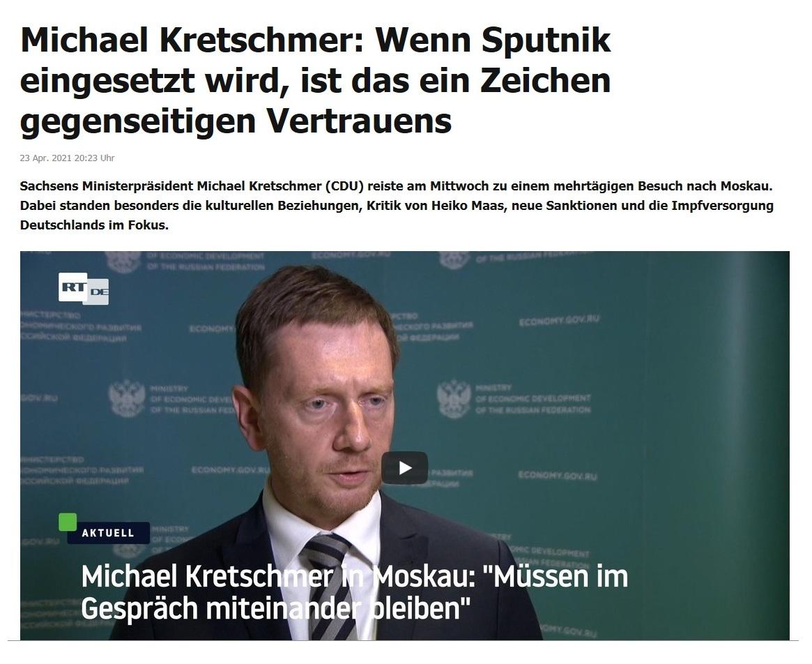 Michael Kretschmer: Wenn Sputnik eingesetzt wird, ist das ein Zeichen gegenseitigen Vertrauens -  RT DE - 23 Apr. 2021 20:23 Uhr