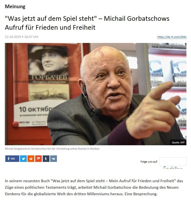 Meinung - 'Was jetzt auf dem Spiel steht' – Michail Gorbatschows Aufruf für Frieden und Freiheit