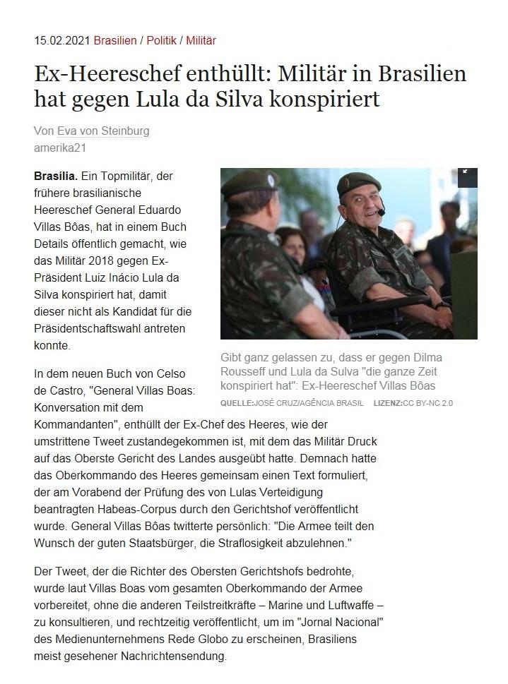 Ex-Heereschef enthüllt: Militär in Brasilien hat gegen Lula da Silva konspiriert - Von Eva von Steinburg - amerika21 - Nachrichten und Analysen aus Lateinamerika - 15.02.2021