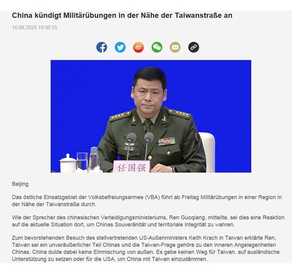 China kündigt Militärübungen in der Nähe der Taiwanstraße an - CRI online Deutsch - 18.09.2020