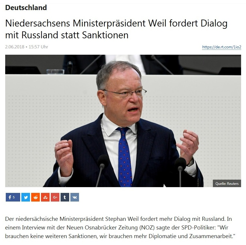 Deutschland - Niedersachsens Ministerpräsident Weil fordert Dialog mit Russland statt Sanktionen
