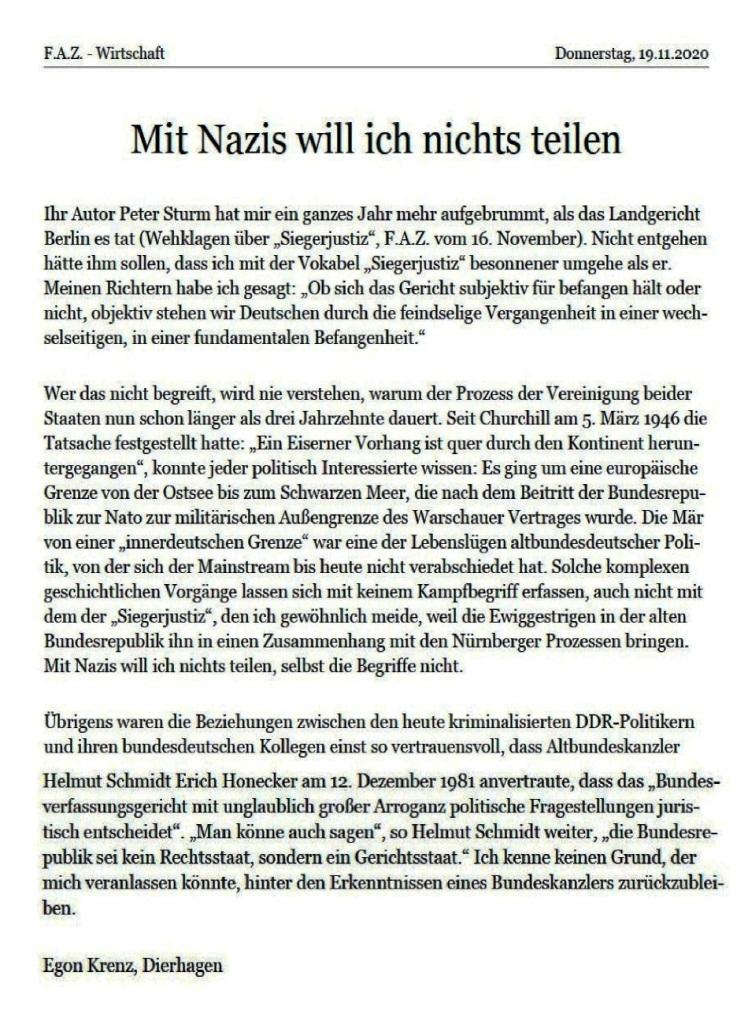 Aus dem Posteingang von Dr. Marianne Linke - Leserbrief von Egon Krenz in der Frankfurter Allgemeinen Zeitung: 'Mit Nazis will ich nichts teilen'