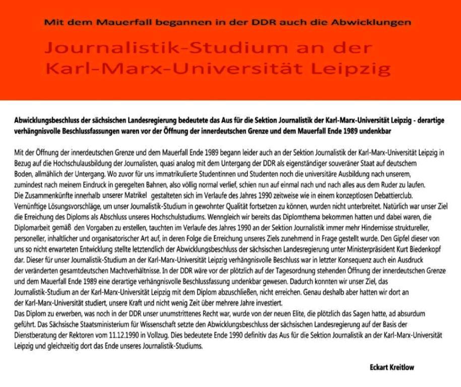 Mit dem Mauerfall begannen in der DDR auch die Abwicklungen - Verhängnisvoller Abwicklungsbeschluss der sächsischen Landesregierung bedeutete das Aus für die Sektion Journalistik der Karl-Marx-Universität Leipzig - Ostsee-Rundschau.de