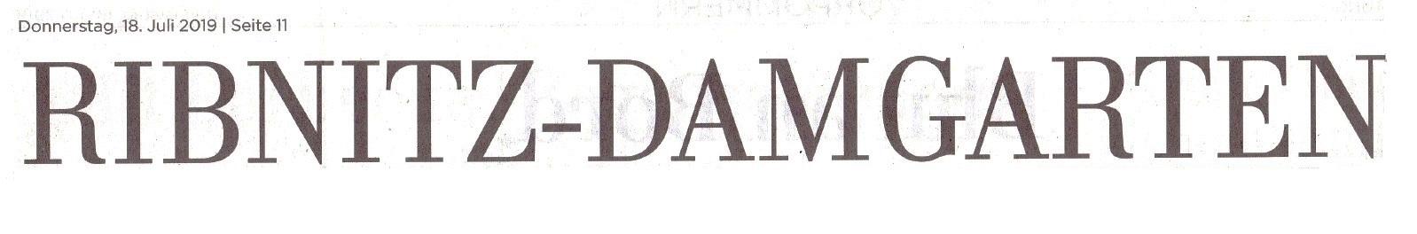 Mitgliederschwund beim Heimat- und Bildungsverein - OZ-Beitrag von Robert Niemeyer - Ostsee-Zeitung Ribnitz-Damgarten -  Veröffentlichung in der Ribnitz-Damgartener Printausgabe der Ostsee-Zeitung am 18. Juli 2019