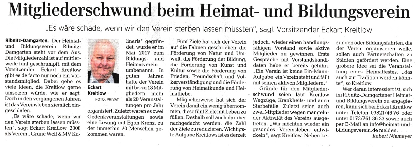 Mitgliederschwund beim Heimat- und Bildungsverein - OZ-Beitrag von Robert Niemeyer - Ostsee-Zeitung Ribnitz-Damgarten -  Veröffentlichung in der Ribnitz-Damgartener Printausgabe der Ostsee-Zeitung am 18. Juli 2019