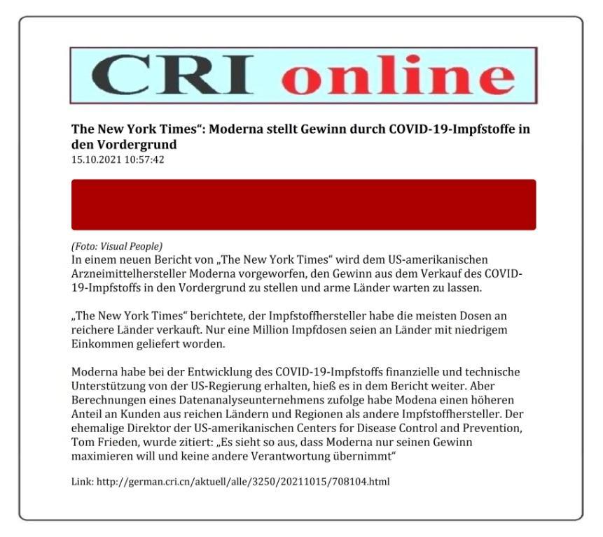 ,The New York Times': Moderna stellt Gewinn durch COVID-19-Impfstoffe in den Vordergrund - 15.10.2021 10:57:42 - CRI online Deutsch - Link: http://german.cri.cn/aktuell/alle/3250/20211015/708104.html