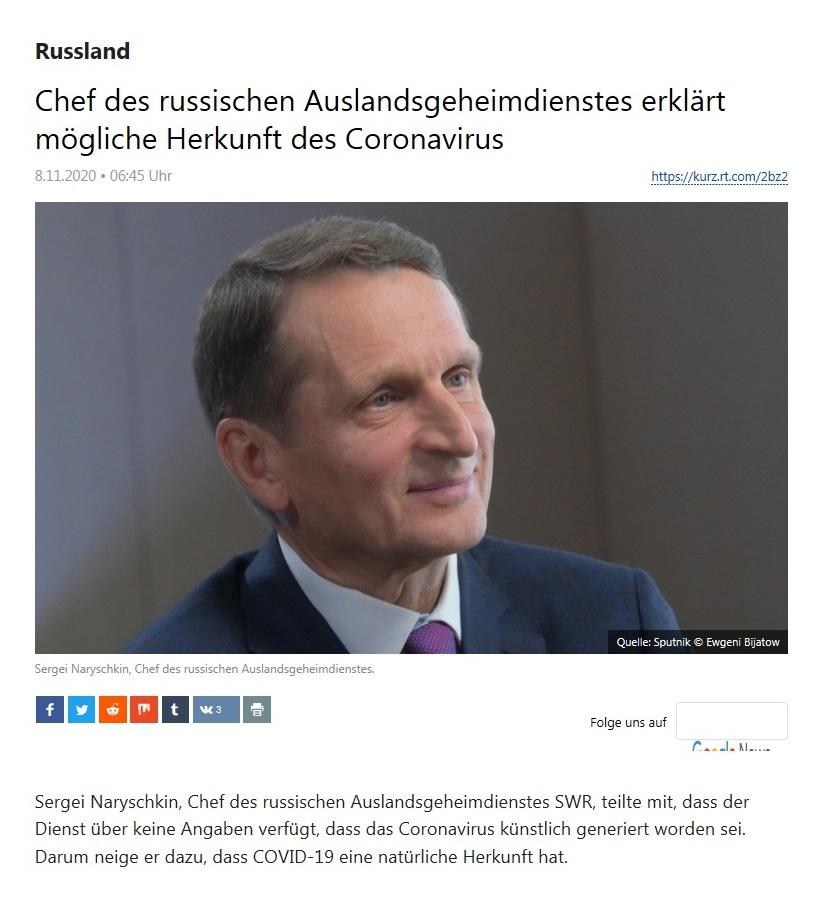 Russland - Chef des russischen Auslandsgeheimdienstes erklärt mögliche Herkunft des Coronavirus - RT Deutsch - 08.11.2020