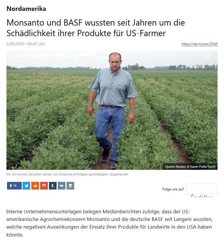 Nordamerika - Monsanto und BASF wussten seit Jahren um die Schädlichkeit ihrer Produkte für US-Farmer - RT Deutsch - 6.04.2020