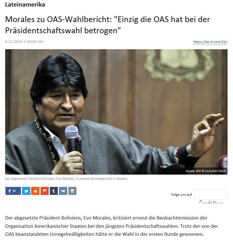 Lateinamerika - Morales zu OAS-Wahlbericht: 'Einzig die OAS hat bei der Präsidentschaftswahl betrogen'