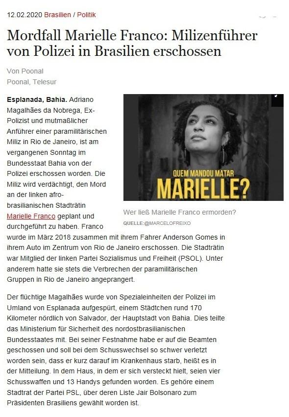 Mordfall Marielle Franco: Milizenführer von Polizei in Brasilien erschossen - Von Poonal - Poonal, Telesur - amerika21 - Nachrichten und Analysen aus Lateinamerika - 12.02.2020