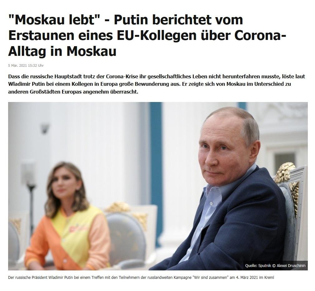 'Moskau lebt' - Putin berichtet vom Erstaunen eines EU-Kollegen über Corona-Alltag in Moskau - RT DE - 5 Mär. 2021 15:32 Uhr