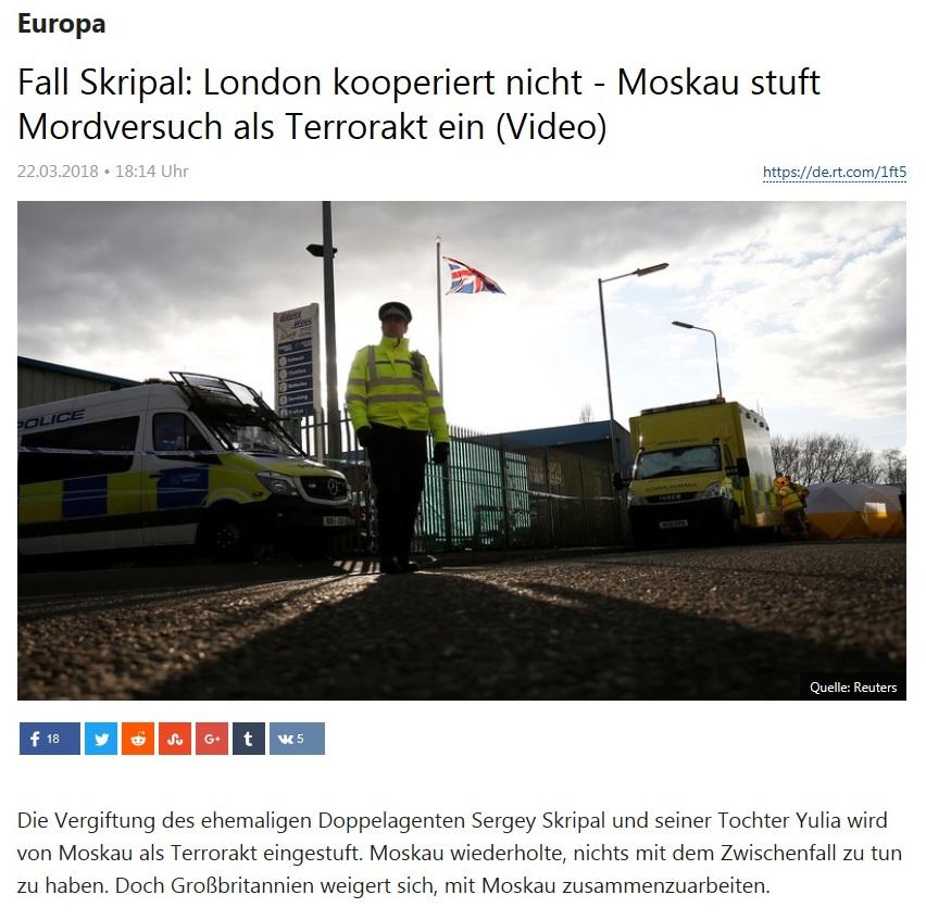 Europa - Fall Skripal: London kooperiert nicht - Moskau stuft Mordversuch als Terrorakt ein (Video)