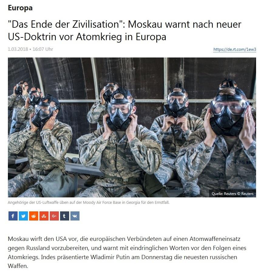 'Das Ende der Zivilisation': Moskau warnt nach neuer US-Doktrin vor Atomkrieg in Europa