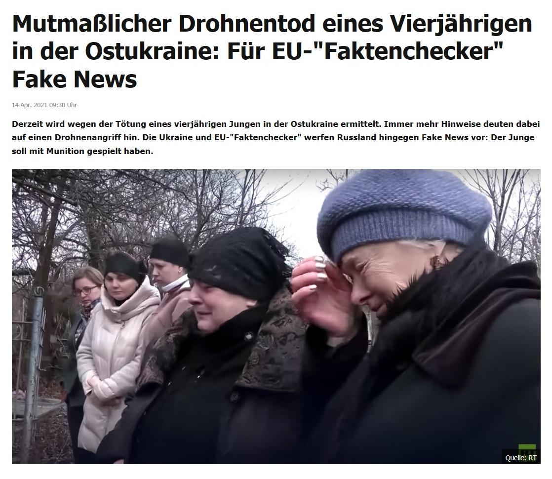 Mutmaßlicher Drohnentod eines Vierjährigen in der Ostukraine: Für EU-'Faktenchecker' Fake News -  RT DE - 14 Apr. 2021 09:30 Uhr