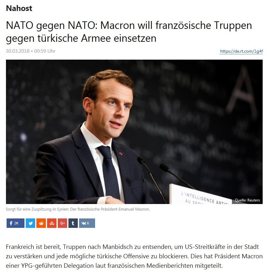 Nahost - NATO gegen NATO: Macron will französische Truppen gegen türkische Armee einsetzen