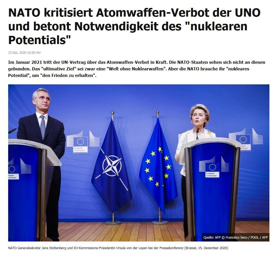 NATO kritisiert Atomwaffen-Verbot der UNO und betont Notwendigkeit des 'nuklearen Potentials' - RT DE - 15 Dez. 2020 16:50 Uhr