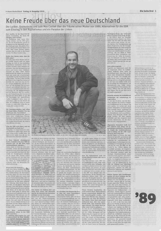 Beitrag 'Keine Freude über das neue Deutschland', Autor: Max Czollek, ND v. 06. 12.2019, Seite 3