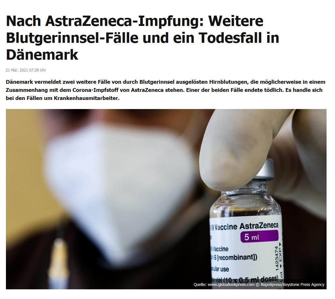 Nach AstraZeneca-Impfung: Weitere Blutgerinnsel-Fälle und ein Todesfall in Dänemark - RT DE - 21 Mär. 2021 07:28 Uhr
