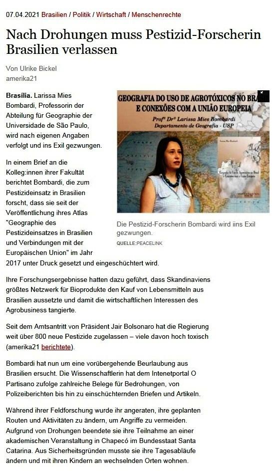 Nach Drohungen muss Pestizid-Forscherin Brasilien verlassen - Von Ulrike Bickel - amerika21 - Nachrichten und Analysen aus Lateinamerika - 07.04.2021
