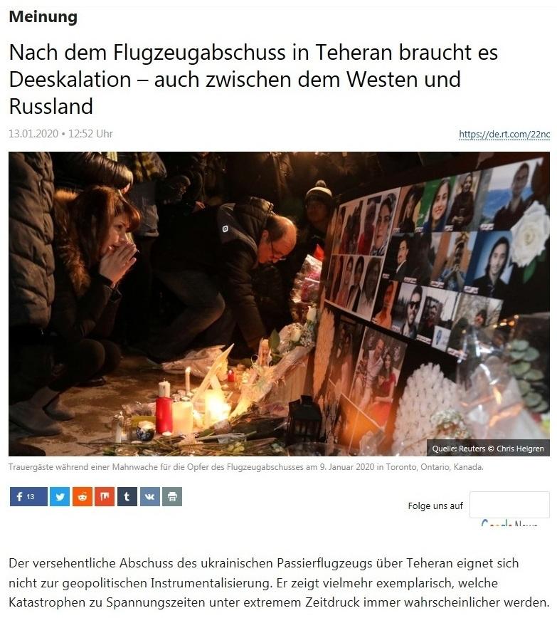 Meinung - Nach dem Flugzeugabschuss in Teheran braucht es Deeskalation – auch zwischen dem Westen und Russland